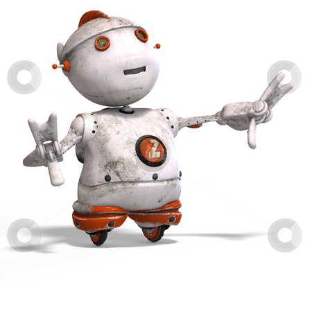 Cute roboter with lot of emotion stock photo, Funny roboter with a lovely face and Clipping Path by Ralf Kraft