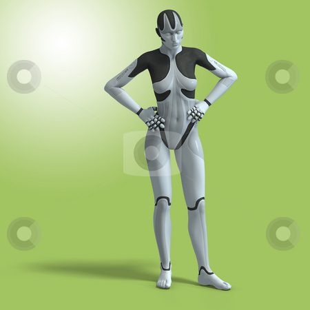 Female Cyborg stock photo, Sexy female android or robotWith Clipping Path by Ralf Kraft