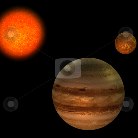 Solar System stock photo, Image of the solar system. focus on: Jupiter and VenusWith Clipping Path by Ralf Kraft