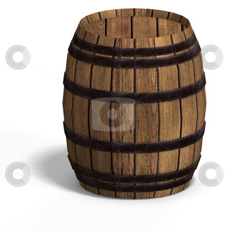 Wooden barrel stock photo, Rendering of a wooden barel With Clipping Path over white by Ralf Kraft