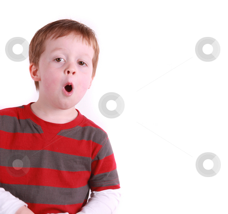 Happy Boy talking stock photo, Happy boy 4 years old talking, isolated on white by Gary Cookson
