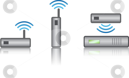 Wireless devices stock photo, Small wireless device that might be used in the computer industry. by Bill Fehr