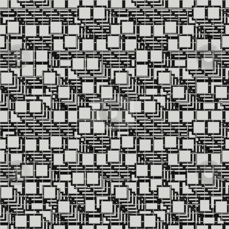 Cube maze pattern stock photo, Seamless texture of metal square maze on black by Wino Evertz