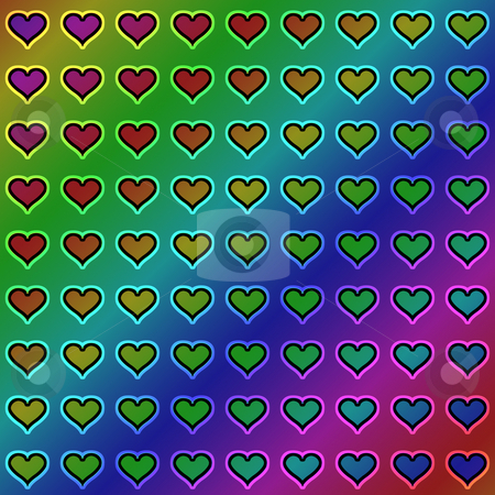 Hearts pattern stock photo, Texture of many hearts on a gradient background by Wino Evertz