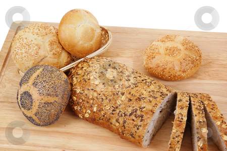 Breads stock photo, Variable types of bread and rolls isolated on white background by Jolanta Dabrowska