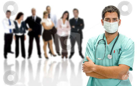 Medical professionals stock photo, Medical professionals on an isolated white background by Imagery Majestic