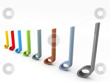 Three dimensional musical notes stock photo, Three dimensional musical notes in row by Imagery Majestic