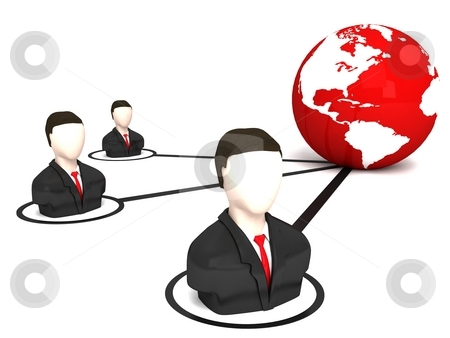 Three dimensional business men and globe stock photo, Three dimensional business men and globe against white background by Imagery Majestic