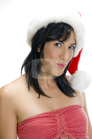 Gorgeous woman with santa cap stock photo, Gorgeous woman with santa cap by Imagery Majestic