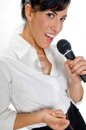 Female singer with microphone stock photo, Portrait of female singer with microphone by Imagery Majestic