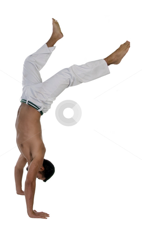 Smart guy trying cartwheel stock photo, Smart guy trying cartwheel isolated with white background by Imagery Majestic