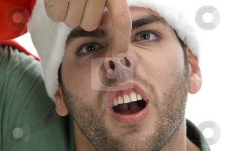 Man raising his nose stock photo, Man raising his nose on an isolated background by Imagery Majestic