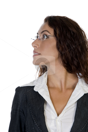 Side  pose of female stock photo, Side  pose of female against white background by Imagery Majestic