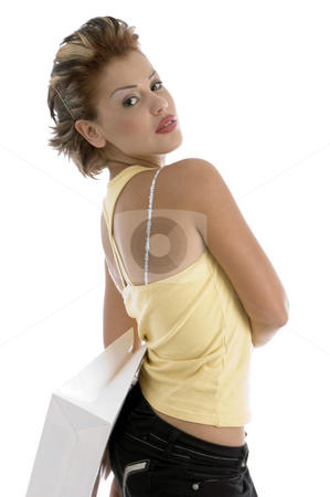 Sexy woman with shopping bag stock photo, Sexy woman with shopping bag with white background by Imagery Majestic