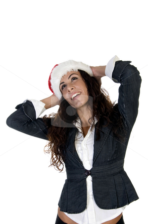 Lady having hands back on head stock photo, Lady having hands back on head with white background by Imagery Majestic