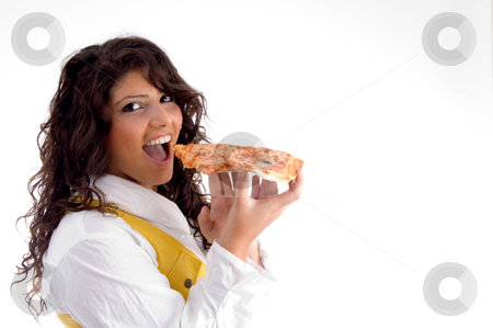 Woman going to eat pizza stock photo, Woman going to eat pizza on an isolated background by Imagery Majestic