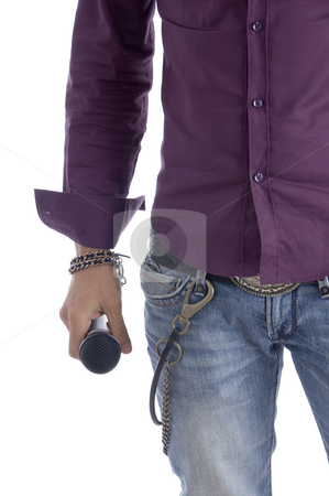 Half length body of man with microphone stock photo, Half length body of man with microphone on an isolated white background by Imagery Majestic