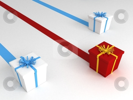 Gifts with ribbon stock photo, Gifts with ribbon, three dimensional by Imagery Majestic