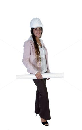 Lady with helmet and blueprint stock photo, Lady with helmet and blueprint against white background by Imagery Majestic