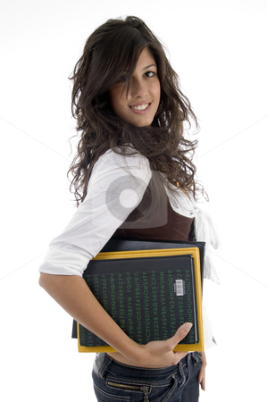 Female student with books stock photo, Female student with books isolated on white background by Imagery Majestic