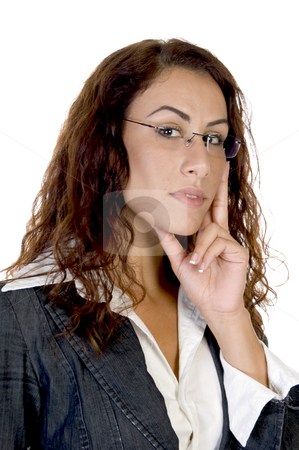 Female in thinking pose stock photo, Female in thinking pose on an isolated background by Imagery Majestic