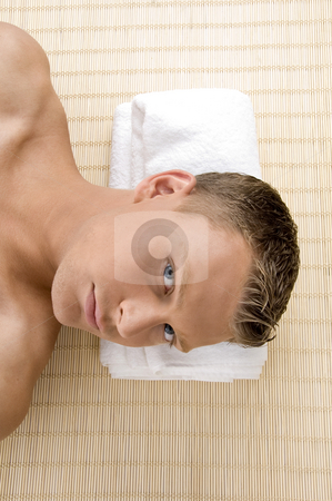 Close up of man at spa stock photo, Close up of man at spa with white background by Imagery Majestic