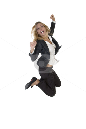 Excited young businesswoman stock photo, Excited young businesswoman on an isolated background by Imagery Majestic