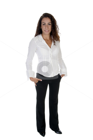Standing stylish lady stock photo, Standing stylish lady with white background by Imagery Majestic