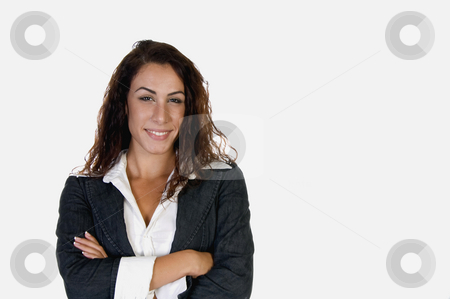 Smiling stylish woman stock photo, Smiling stylish woman on an isolated white  background by Imagery Majestic