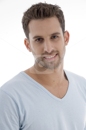 Portrait of handsome young man stock photo, Portrait of handsome young manon an isolated white backgound by Imagery Majestic