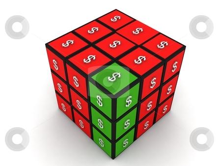 Three dimensional puzzle dollar stock photo, Isolated three dimensional puzzle dollar by Imagery Majestic