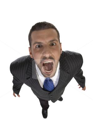 Shouting man looking upward stock photo, Shouting man looking upward on an isolated white  background by Imagery Majestic