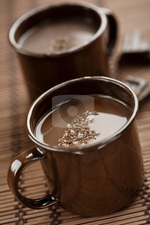 Hot chocolate stock photo, Hot chocolate with chocolate shaings by Liv Friis-Larsen