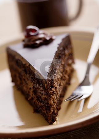 Chocolate cake stock photo, Spiece of chocolate cake, shallow dof by Liv Friis-Larsen