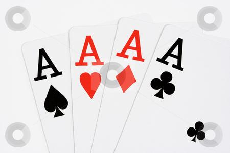 Four Aces stock photo, Four aces on white background by Stephen Bonk