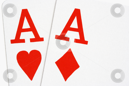 Two Red Aces stock photo, Ace of hearts and ace of diamonds on white background by Stephen Bonk