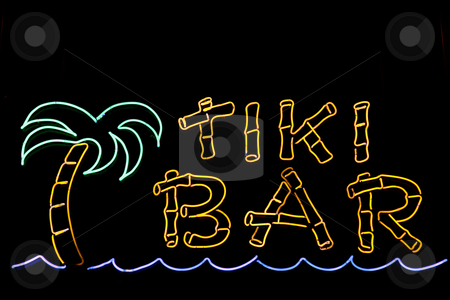 Tiki Bar Sign stock photo, A neon sign for a Tiki Bar by Stephen Bonk