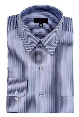 Blue Pinstriped Dress Shirt stock photo, A Blue pinstriped dress shirt isolated over a white background by Stephen Bonk