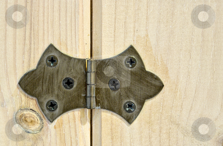 Hinge stock photo, A close up view of a hinge attached to a wood cabinet door. Much detail can be seen in both the hinge and the wood. by Stephen Bonk