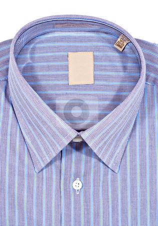 Dress Shirt stock photo, A folded pinstriped dress shirt by Stephen Bonk