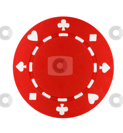 Red Poker Chip stock photo, A red poker chip isolated on a white background by Stephen Bonk