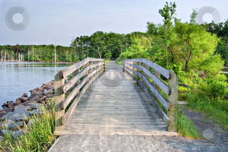 Wooden Bridge stock photo, A wooden bridge along a path in the wilderness by Stephen Bonk