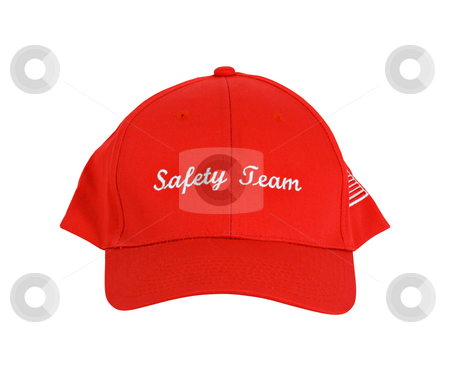 Safetey Team Hat stock photo, A red hat or cap with the words