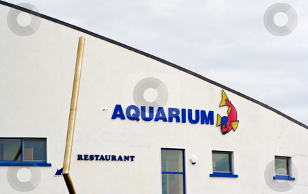 Aquarium stock photo, The outside architecture of an Aquarium. The building has an abstract shape. by Stephen Bonk