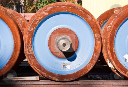 Train Wheels stock photo, New wheels that will be used on an old steam engine train by Stephen Bonk