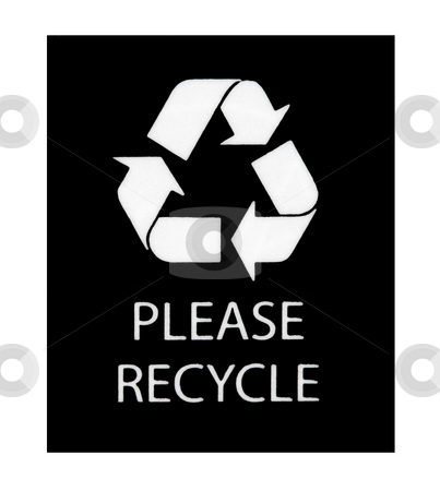 Please Recycle Sign stock photo, Please Recycle sign isolated on a white background by Stephen Bonk