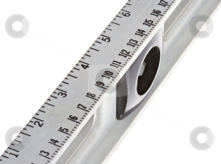 Ruler stock photo, Closeup of the ruler and ruler markings on a level tool. Isolated over a white background. by Stephen Bonk