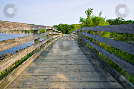 Wooden Bridge stock photo, A wooden bridge at Manaquan Reservoir in Manasquan, New Jersey by Stephen Bonk