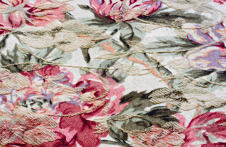 Flowered fabric stock photo, Colorful flowered fabric by Stephen Bonk