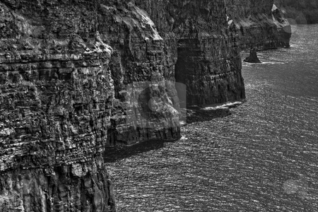 The Cliffs of Moher stock photo, A unique view of the Cliffs of Moher in black and white by Stephen Bonk